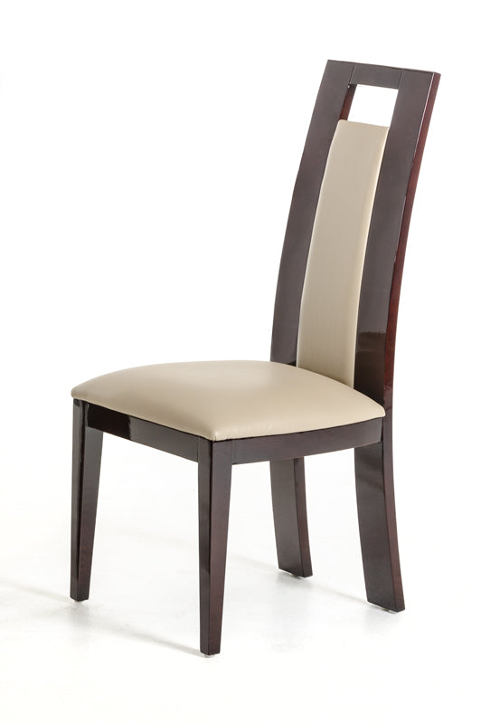 Douglas - Modern Ebony and Taupe Dining Chair (Set of 2)-Dining Chair-VIG-Wall2Wall Furnishings