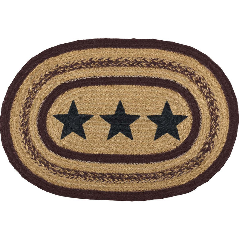 Potomac Jute Placemat Stencil Stars Set of 6 12x18-Placemats & Napkins-VHC-Wall2Wall Furnishings