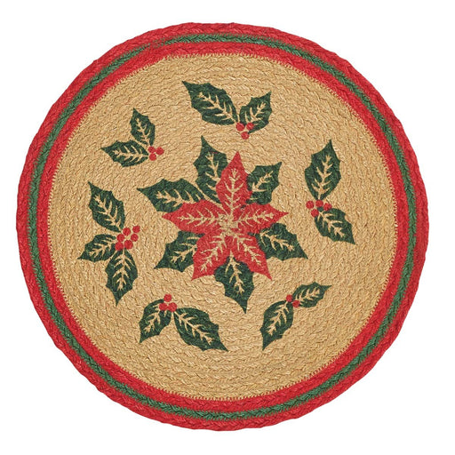Poinsettia Jute Tablemat 13 Set of 6-Placemats & Napkins-VHC-Wall2Wall Furnishings