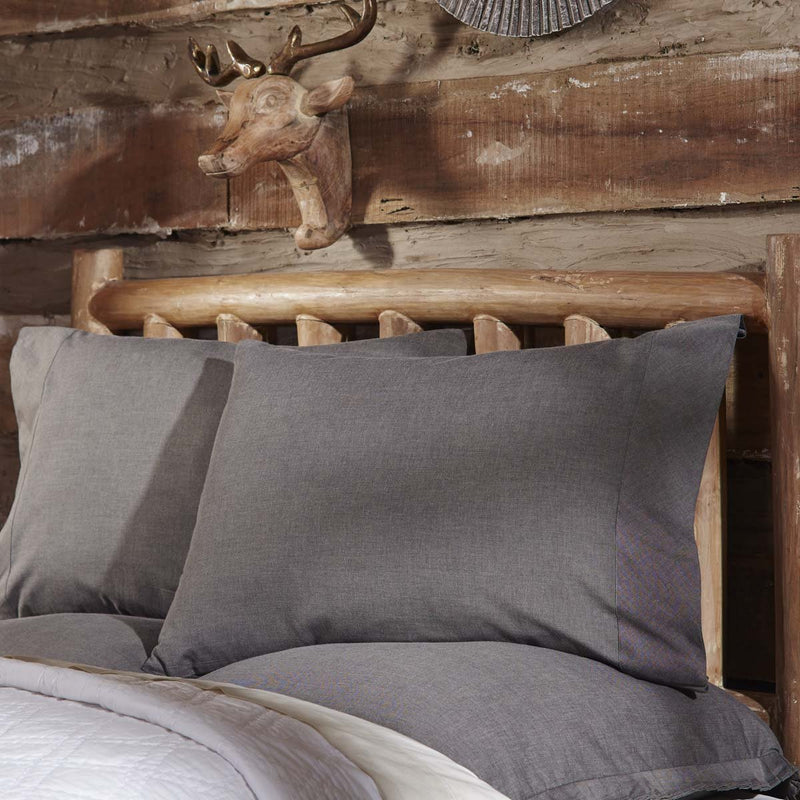 Black Chambray Standard Pillow Case Set of 2 21x30-Pillow Case Set-VHC-Wall2Wall Furnishings