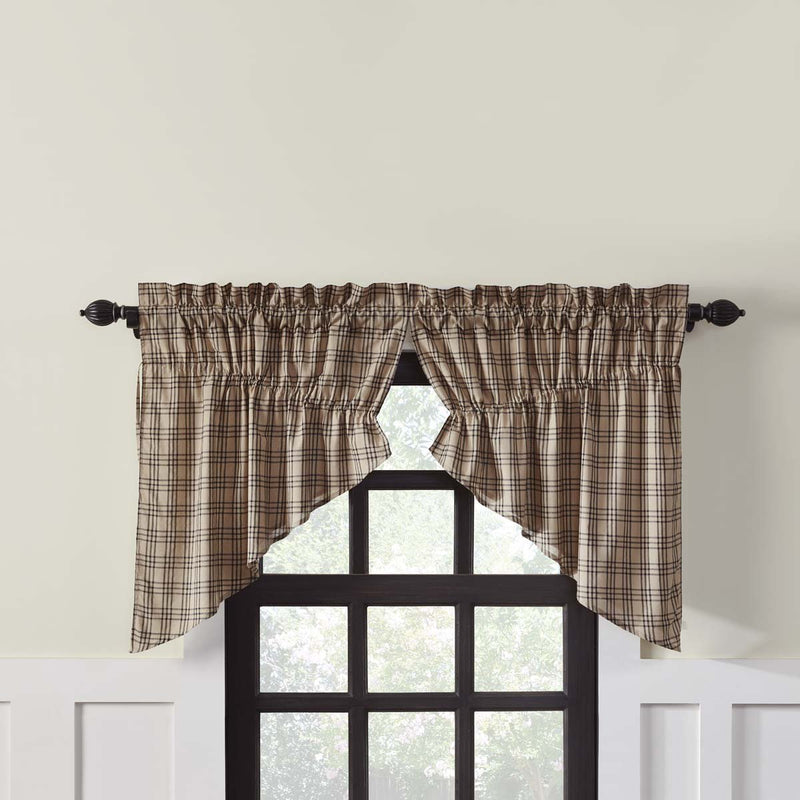 Sawyer Mill Plaid Prairie Swag Set-Prairie Swags & Curtains-VHC-Wall2Wall Furnishings