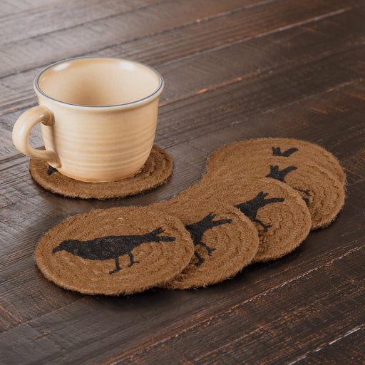 Heritage Farms Crow Jute Coaster Set of 6-Trivets, Coasters, & Holders-VHC-Wall2Wall Furnishings