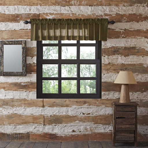 Tea Cabin Green Plaid Valance 16x72-Valances & Balloon Valances-VHC-Wall2Wall Furnishings