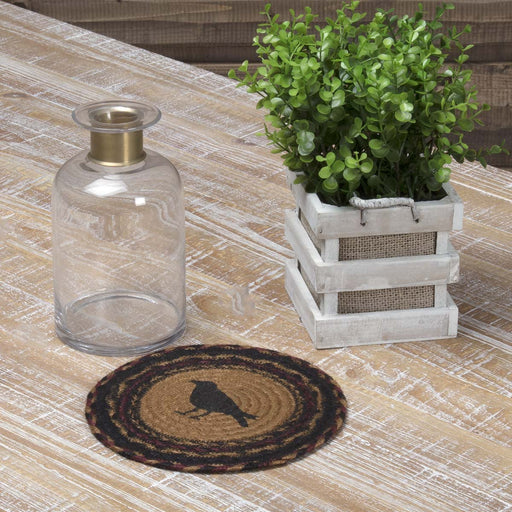 Heritage Farms Crow Jute Trivet 8-Trivets, Coasters, & Holders-VHC-Wall2Wall Furnishings
