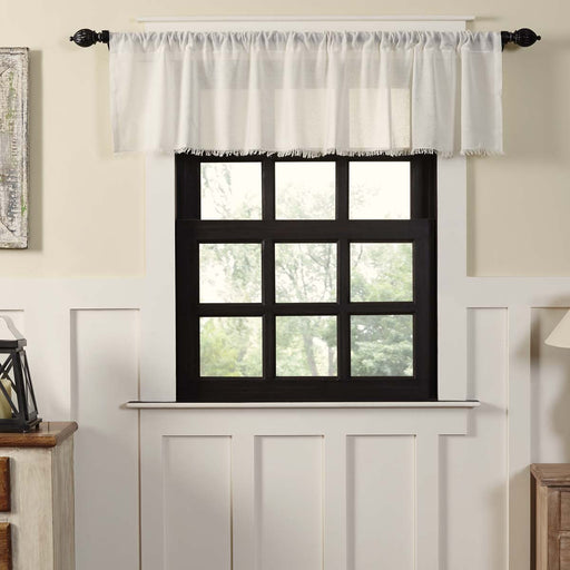 Tobacco Cloth Fringed Valance-Valances & Balloon Valances-VHC-Wall2Wall Furnishings