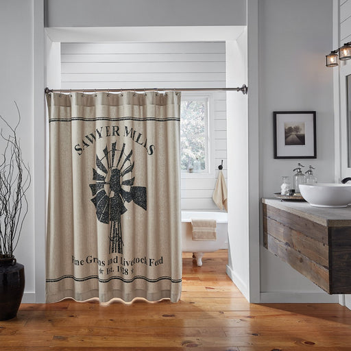 Sawyer Mill Charcoal Windmill Shower Curtain 72x72-Shower Curtain-VHC-Wall2Wall Furnishings