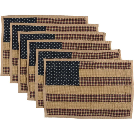 Patriotic Patch Placemat Quilted Set of 6 12x18-Placemats & Napkins-VHC-Wall2Wall Furnishings