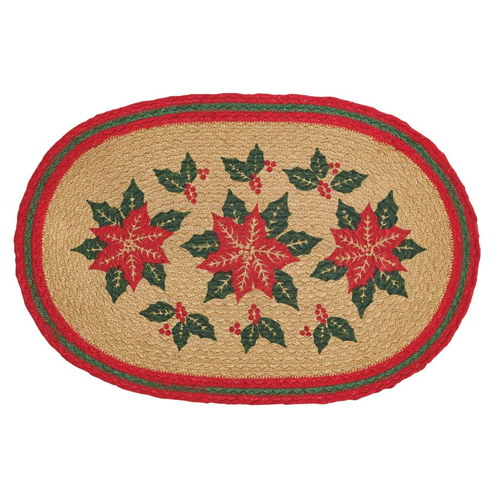 Poinsettia Jute Placemat Set of 6 12x18-Placemats & Napkins-VHC-Wall2Wall Furnishings
