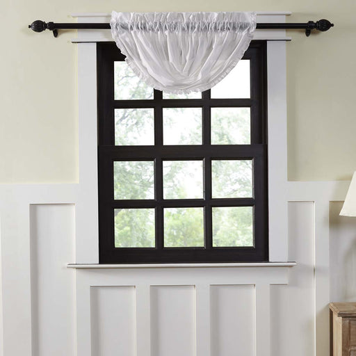 White Ruffled Sheer Balloon Valance 15x60-Valances & Balloon Valances-VHC-Wall2Wall Furnishings