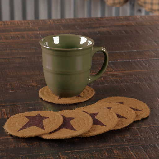 Heritage Farms Star Jute Coaster Set of 6-Trivets, Coasters, & Holders-VHC-Wall2Wall Furnishings