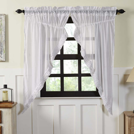 White Ruffled Sheer Prairie Short Panel Curtain Set 2 63x36x18-Prairie Swags & Curtains-VHC-Wall2Wall Furnishings