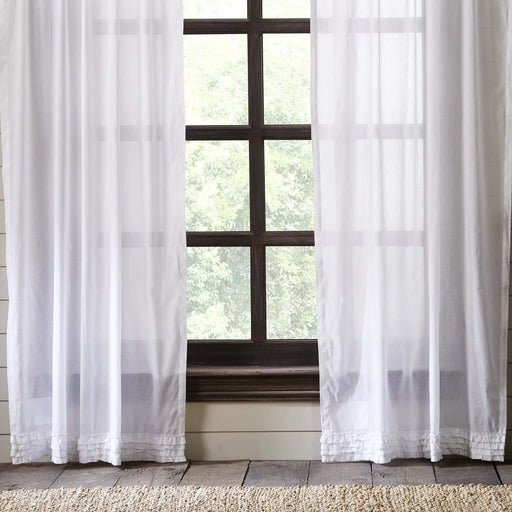 White Ruffled Sheer Panel Curtain Set of 2 84x40-Curtain Panel-VHC-Wall2Wall Furnishings