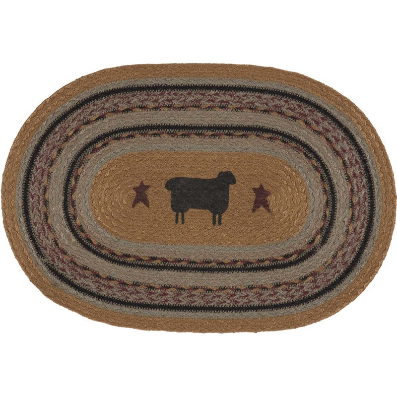 Heritage Farms Sheep Jute Placemat Set of 6 12x18-Placemats & Napkins-VHC-Wall2Wall Furnishings