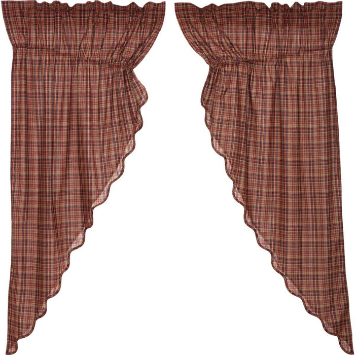 Parker Scalloped Prairie Short Panel Curtain Set of 2 63x36x18-Prairie Swags & Curtains-VHC-Wall2Wall Furnishings