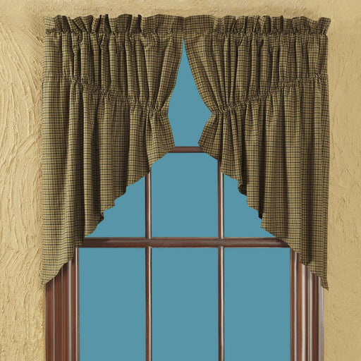 Tea Cabin Green Plaid Prairie Swag Set of 2 36x36x18-Prairie Swags & Curtains-VHC-Wall2Wall Furnishings