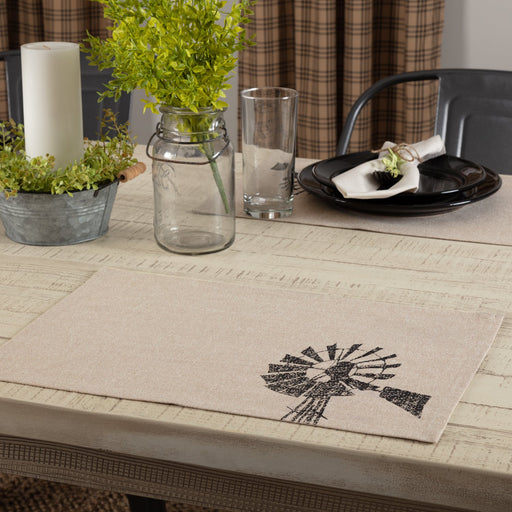 Sawyer Mill Charcoal Windmill Placemat Set of 6 12x18-Placemats & Napkins-VHC-Wall2Wall Furnishings