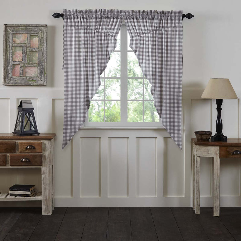 Annie Buffalo Check Short Prairie Panel Set-Prairie Swags & Curtains-VHC-Wall2Wall Furnishings
