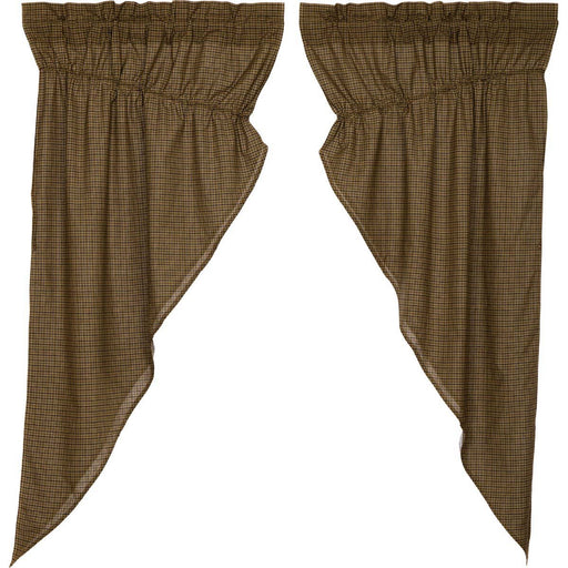 Tea Cabin Green Plaid Prairie Short Panel Curtain Set of 2 63x36x18-Prairie Swags & Curtains-VHC-Wall2Wall Furnishings