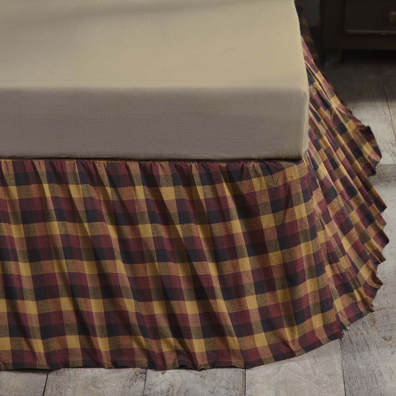 Primitive Check Bed Skirt-Bed Skirt-VHC-Wall2Wall Furnishings
