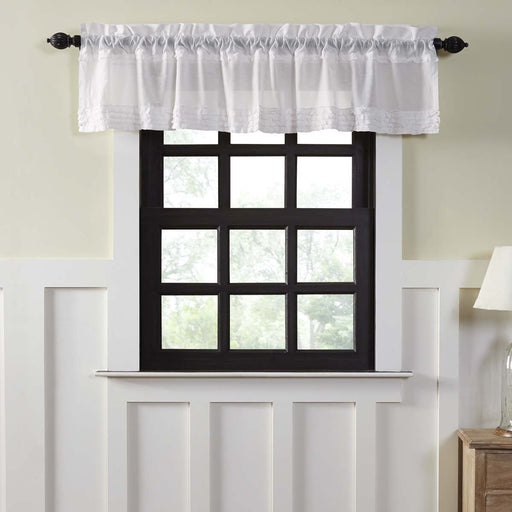 White Ruffled Sheer Valance-Valances & Balloon Valances-VHC-Wall2Wall Furnishings