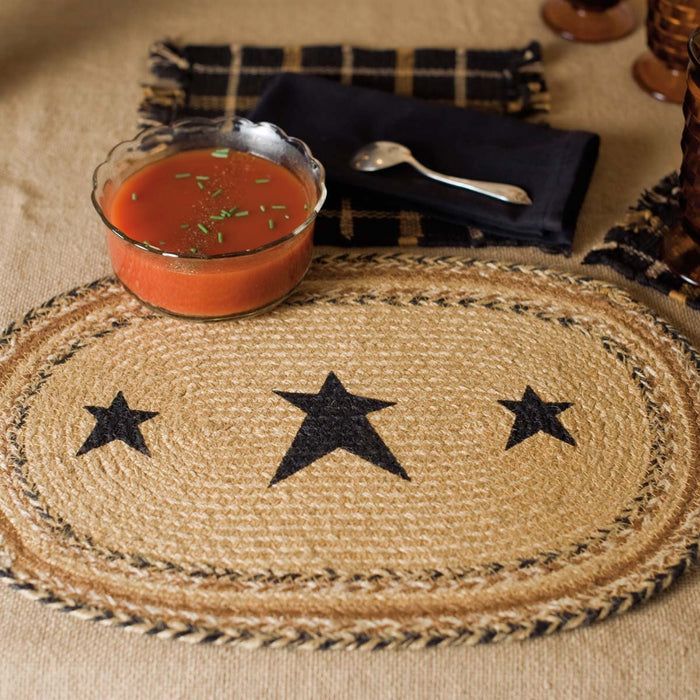 Kettle Grove Jute Placemat Stencil Star Set of 6 12x18-Placemats & Napkins-VHC-Wall2Wall Furnishings