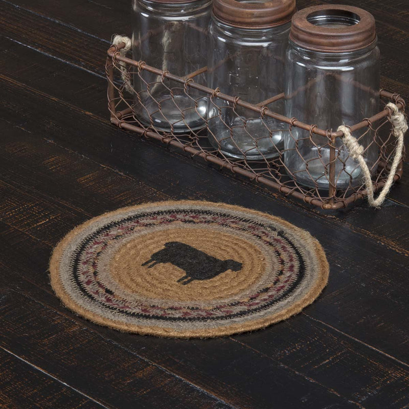 Heritage Farms Sheep Jute Trivet 8-Trivets, Coasters, & Holders-VHC-Wall2Wall Furnishings