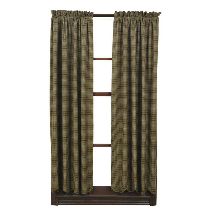 Tea Cabin Green Plaid Short Panel Set of 2 63x36-Curtain Panel-VHC-Wall2Wall Furnishings