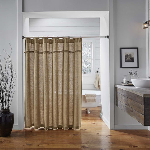 Burlap Natural Shower Curtain 72x72-Shower Curtain-VHC-Wall2Wall Furnishings