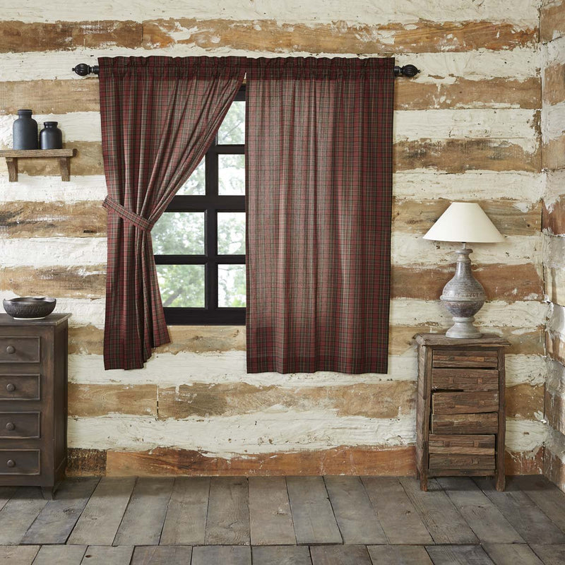 Tartan Red Plaid Short Panel Set of 2 63x36-Curtain Panel-VHC-Wall2Wall Furnishings