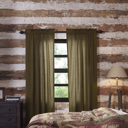 Tea Cabin Green Plaid Panel Set of 2 84x40-Curtain Panel-VHC-Wall2Wall Furnishings