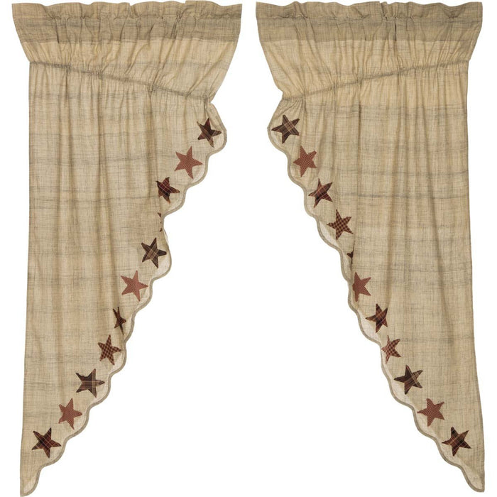 Abilene Star Prairie Short Panel Curtain Set of 2 63x36x18-Prairie Swags & Curtains-VHC-Wall2Wall Furnishings