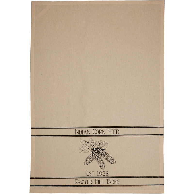 Sawyer Mill Charcoal Plow & Corn Muslin Unbleached Natural Tea Towel Set of 2-Kitchen Towel-VHC-Wall2Wall Furnishings