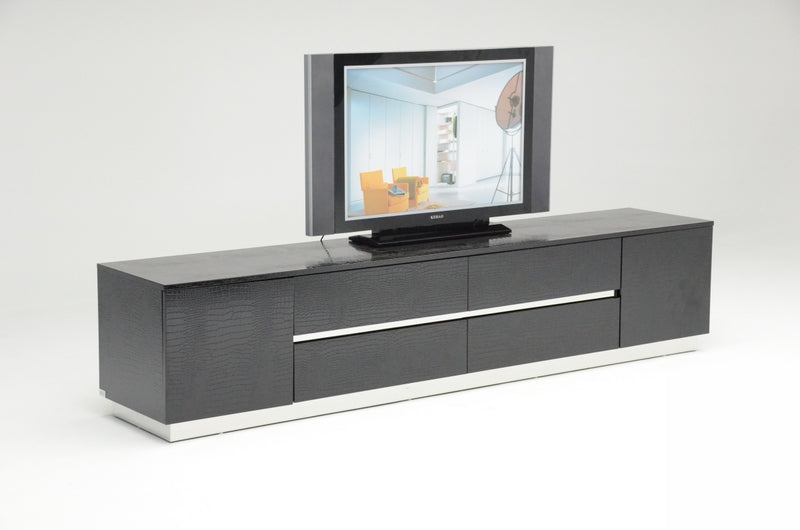 A&X Skyline Modern Black Crocodile Lacquer TV Unit-TV Stand-VIG-Wall2Wall Furnishings