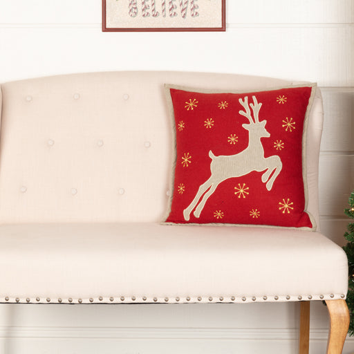 Burlap Santa Reindeer Pillow-Pillow Cover-VHC-Wall2Wall Furnishings