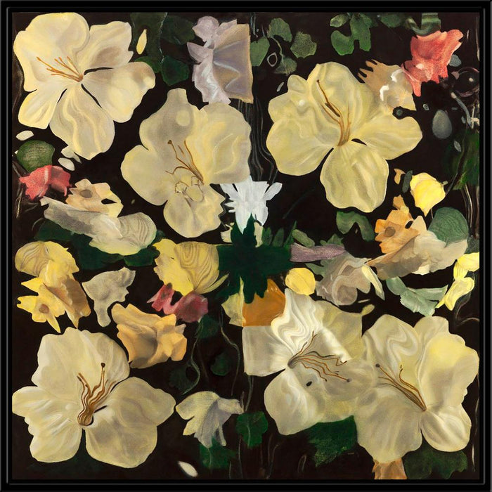 Magnolias On Black - Wall Art-Wall Art-Surya-Wall2Wall Furnishings