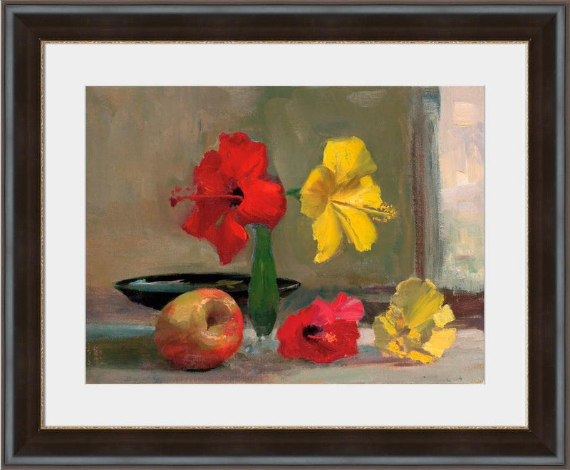 Yellow Hibiscus with Apple - Wall Art-Wall Art-Surya-Wall2Wall Furnishings