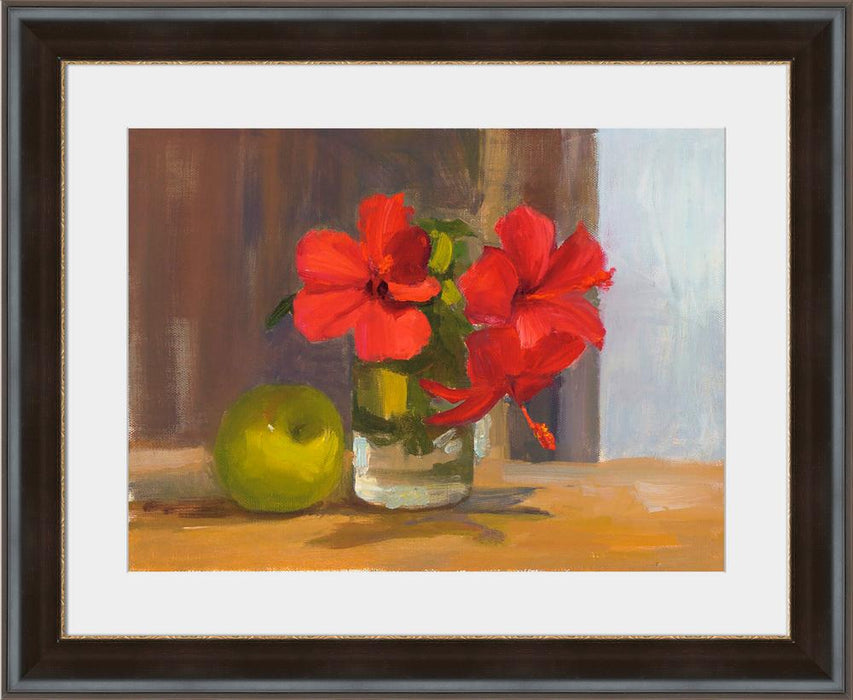 Red Hibiscus with Apple - Wall Art-Wall Art-Surya-Wall2Wall Furnishings