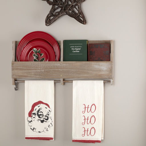 Chenille Christmas Ho Ho Ho Bleached White Muslin Tea Towel Set of 2-Kitchen Towel-VHC-Wall2Wall Furnishings