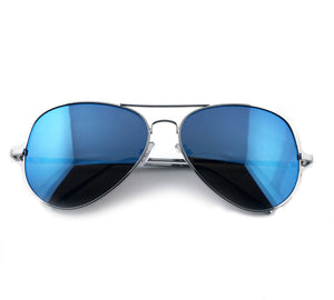 Navy blue reflective aviators sunglasses with silver frame | The Perfect Gentleman