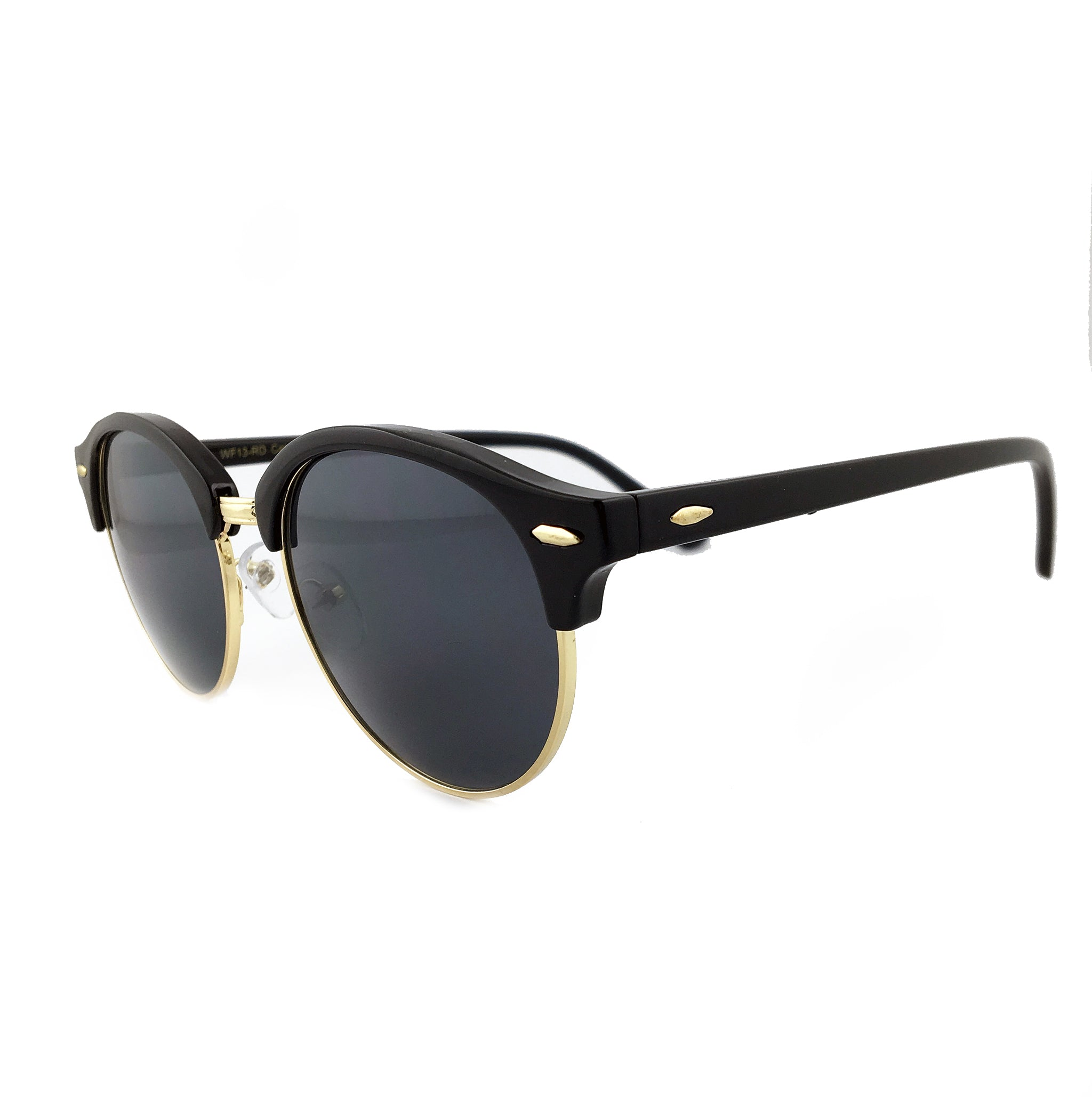 Classic round sunglasses with black tinted lens and gold frame | The Perfect Gentleman