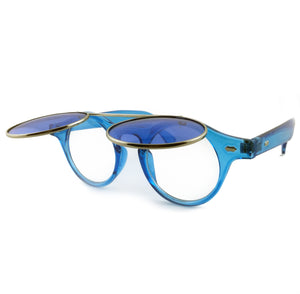 Blue tinted sunglasses with round flip up lens | The Perfect Gentleman