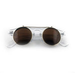 Round sunglasses with brown tinted lens that flip up. Clear frame. | The Perfect Gentleman