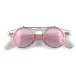 Pink tinted flip up sunglasses with clear underneath lens | The Perfect Gentleman