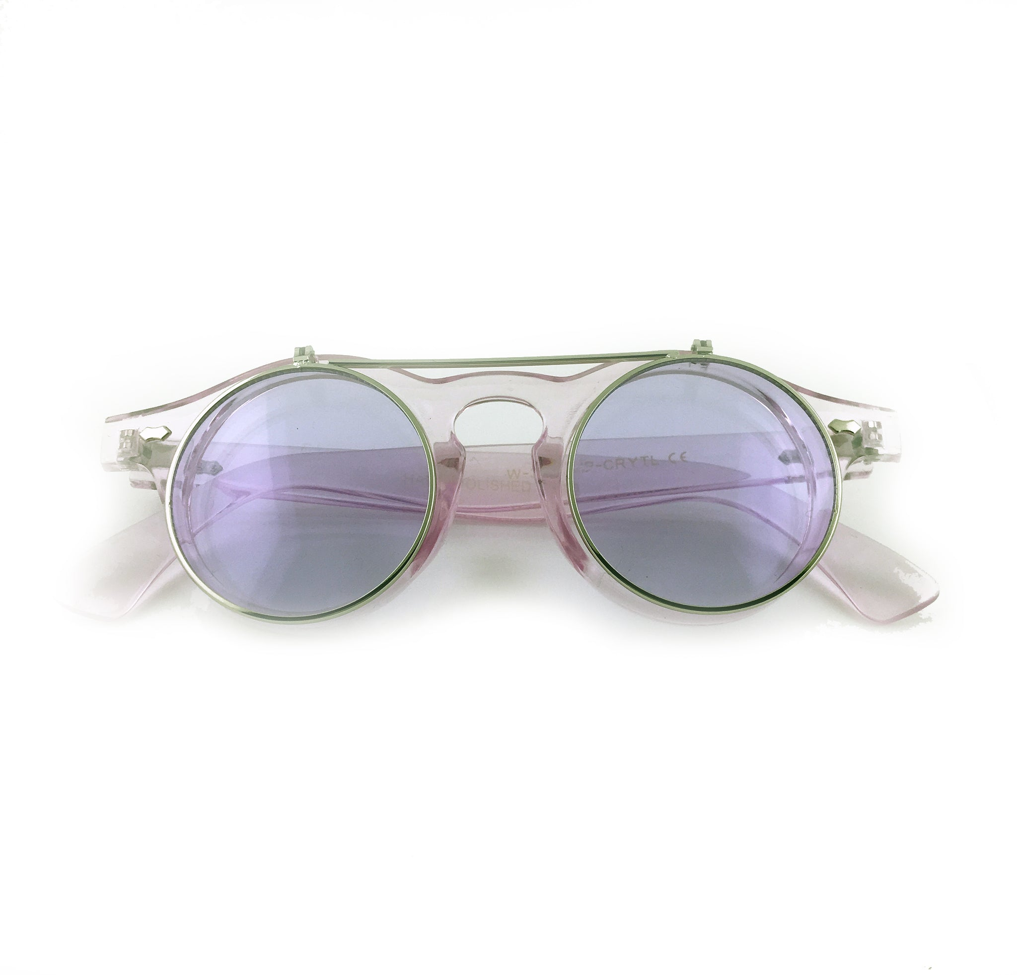 purple tinted flip up sunglasses with clear frame and clear underneath lens | The Perfect Gentleman