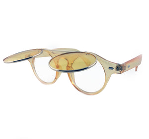 Yellow tinted flip up sunglasses with clear underneath lens | The Perfect Gentleman