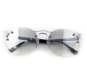 Clear round lens sunglasses black and white marble coloured arms | The Perfect Gentleman
