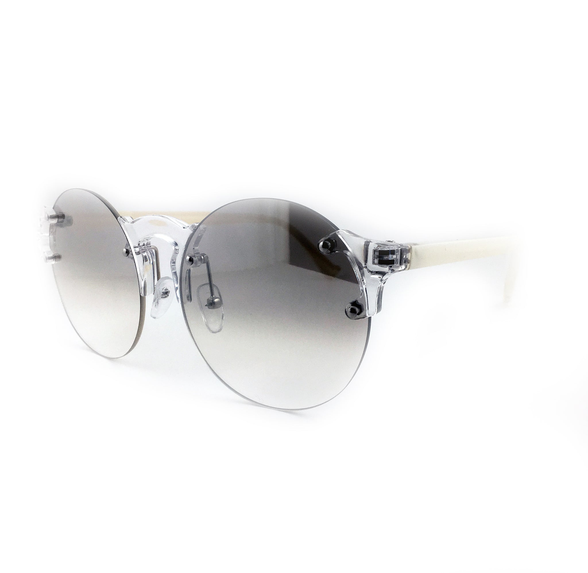 Clear round lens sunglasses with white coloured arms | The Perfect Gentleman