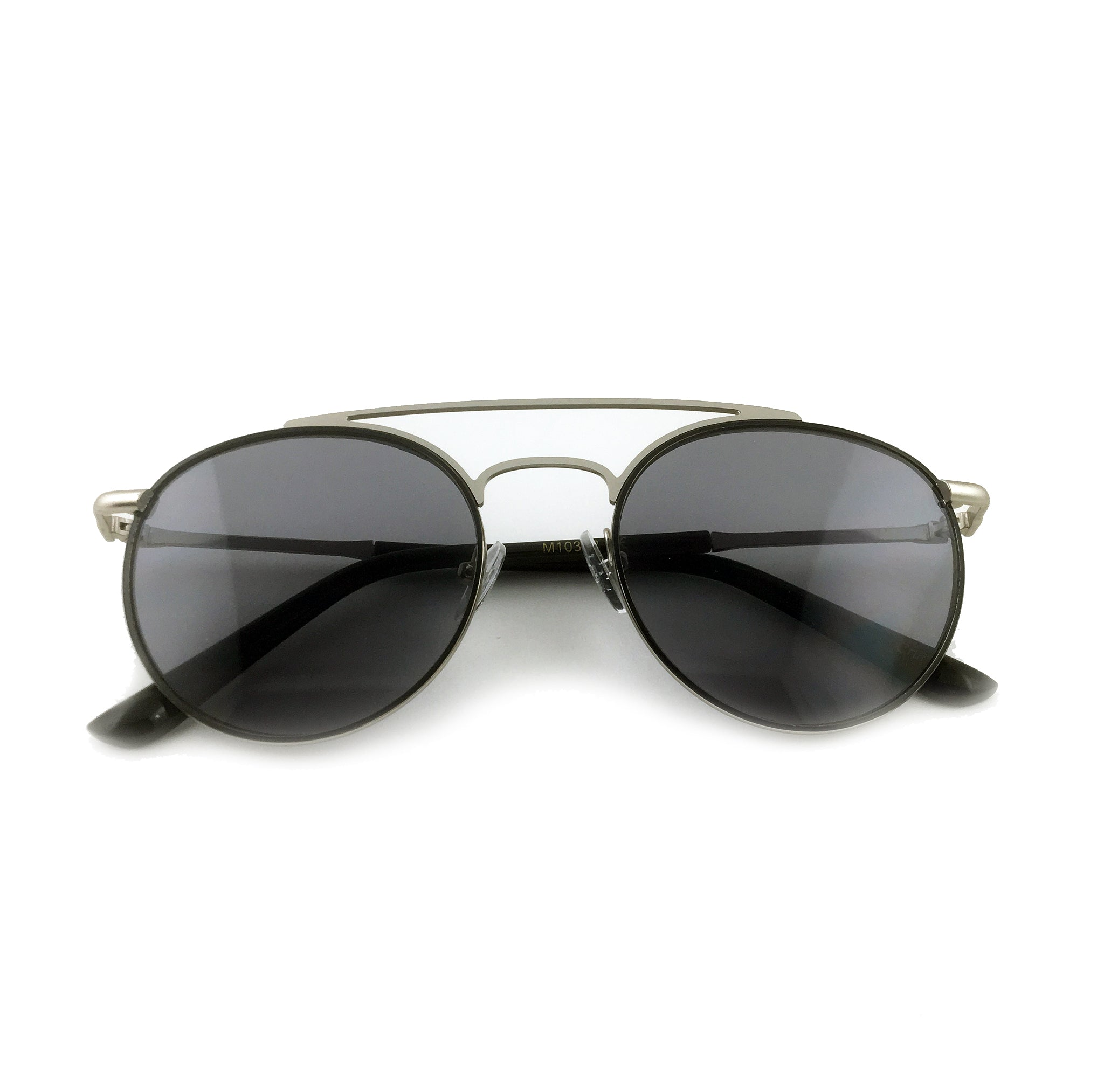 Round aviator sunglasses with black tinted lens and silver metal frame | The Perfect Gentleman