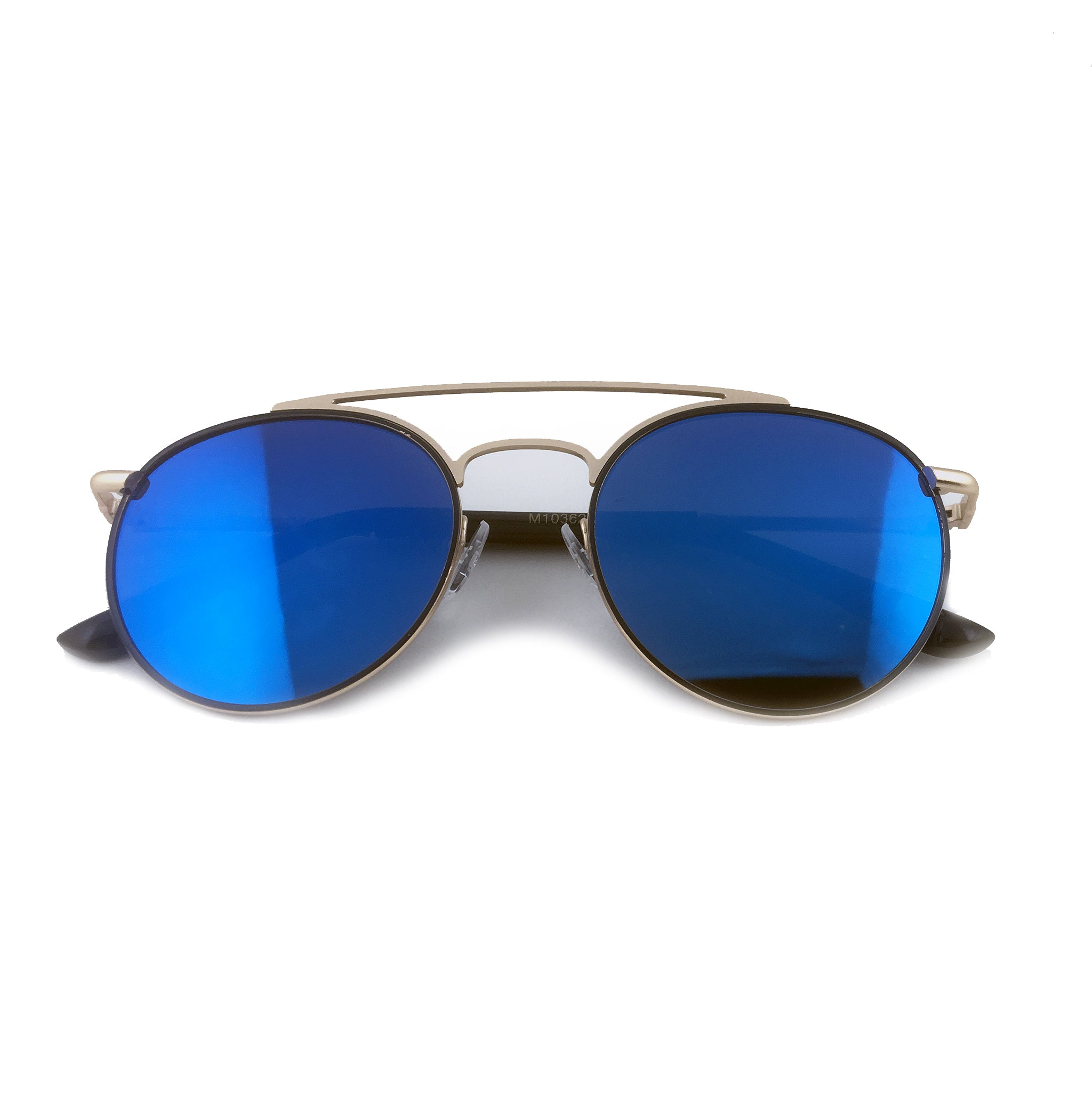Blue tinted round aviators with gold metal frame. | The Perfect Gentleman