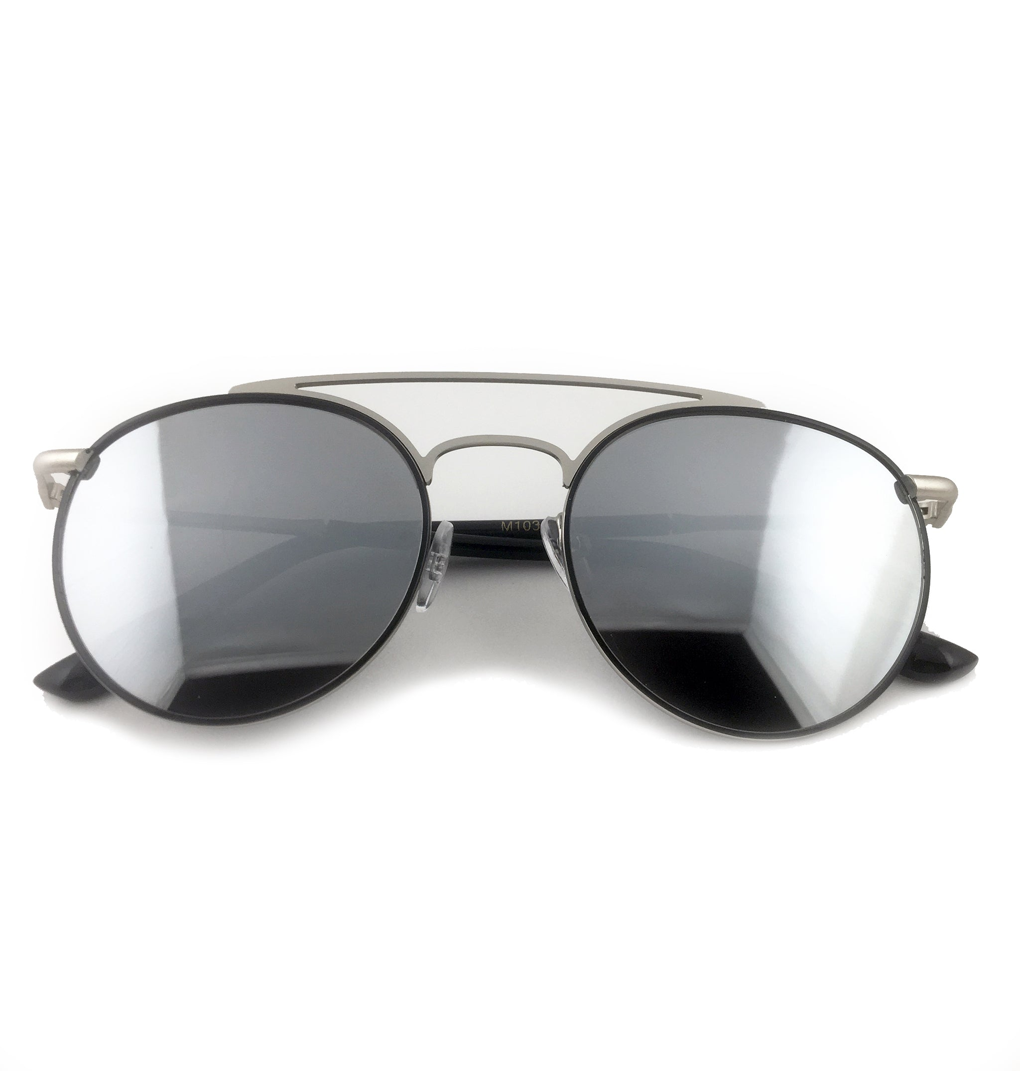 Gunmetal round aviator sunglasses with silver lens | The Perfect Gentleman